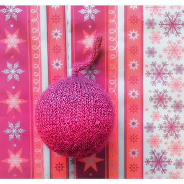 Boule de noël 8cm tricoter Rouge pailleté (fait main)